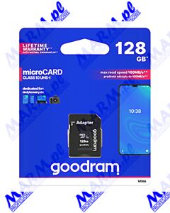 Goodram Micro Secure Digital Card; 128GB; micro SDXC; M1AA-1280R12; UHS-I U1 (Class 10); z adapterm; GOODRAM