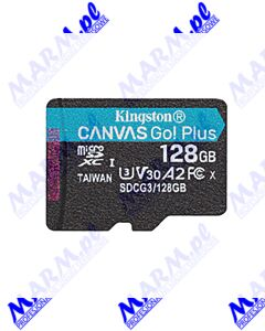 Kingston karta pamięci Canvas Go! Plus; 128GB; micro SDXC; SDCG3/128GBSP; UHS-I U3; bez adaptera; A2; V30; Kingston