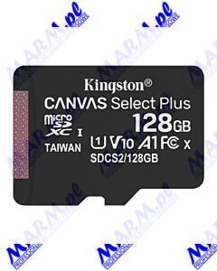 Kingston karta Canvas Select Plus; 128GB; micro SDXC; SDCS2/128GBSP; UHS-I U1 (Class 10); bez adaptera; A1; Kingston