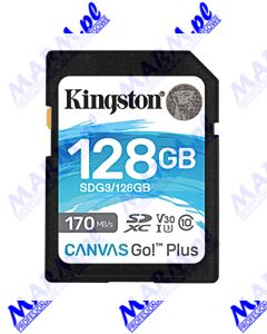 Kingston karta pamięci Canvas Go! Plus; 128GB; SDXC; SDG3/128GB; UHS-I U3 (Class 10); V30; Kingston