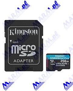 Kingston karta pamięci Canvas Go! Plus; 256GB; micro SDXC; SDCG3/256GB; UHS-I U3; z adapterm; A2; V30; Kingston