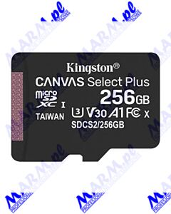 Kingston karta Canvas Select Plus; 256GB; micro SDXC; SDCS2/256GBSP; UHS-I U1 (Class 10); bez adaptera; A1; Kingston