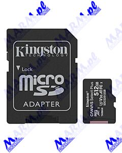 Kingston karta Canvas Select Plus; 512GB; micro SDXC; SDCS2/512GB; UHS-I U1 (Class 10); z adapterm; A1; Kingston