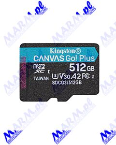 Kingston karta pamięci Canvas Go! Plus; 512GB; micro SDXC; SDCG3/2512GBSP; UHS-I U3; bez adaptera; A2; V30; Kingston