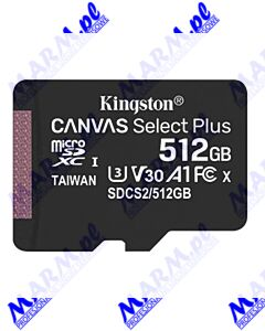 Kingston karta Canvas Select Plus; 512GB; micro SDXC; SDCS2/512GBSP; UHS-I U1 (Class 10); bez adaptera; A1; Kingston