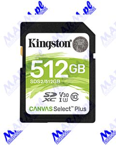 Kingston karta Canvas Select Plus; 512GB; SDXC; SDC2/512GB; UHS-I U3 (Class 10); A1; Kingston