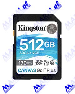 Kingston karta pamięci Canvas Go! Plus; 512GB; SDXC; SDG3/512GB; UHS-I U3 (Class 10); A2; V30; Kingston