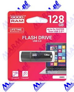 Goodram USB flash disk; USB 3.0 (3.2 Gen 1); 128GB; UMM3; UMM3-1280K0R11; USB A; z osłoną; GOODRAM-black
