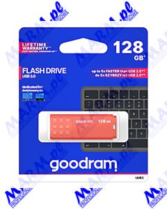 Goodram USB flash disk; USB 3.0 (3.2 Gen 1); 128GB; UME3; UME3-1280O0R11; USB A; z osłoną; GOODRAM-orange