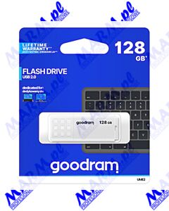 Goodram USB flash disk; USB 2.0; 128GB; UME2; biały; UME2-1280W0R11; USB A; z osłoną; GOODRAM-white