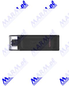 Kingston USB flash disk; USB 3.0 (3.2 Gen 1); 128GB; DataTraveler 70; DT70/128GB; USB C; Kingston-black