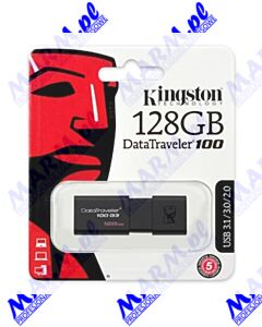 Kingston USB flash disk; USB 3.0 (3.2 Gen 1); 128GB; DataTraveler 100 Gen3; DT100G3/128GB; USB A; z wysuwanym złączem; Kingston-black