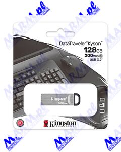 Kingston USB flash disk; USB 3.0 (3.2 Gen 1); 128GB; DataTraveler(R) Kyson; DTKN/128GB; z oczkiem na brelok; Kingston-silver