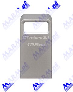 Kingston USB flash disk; USB 3.0 (3.2 Gen 1); 128GB; DataTraveler Micro; DTMC3/128GB; USB A; Kingston-silver